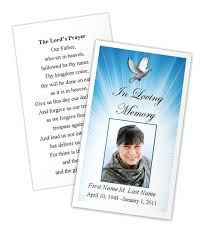 Funeral Card Template Celestial Dove Prayer Card Template Funeral Card