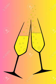 champagne glass cartoon two champagne glasses clinking in a toast royalty free cliparts