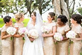 7 metallic gold bridesmaid gown concepts for your wedding inside