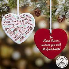 grandparent ornaments personalized 2 sided personalized heart ornament to heart
