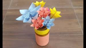 how to make beautiful paper flowers and a flower vase paper