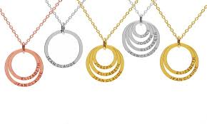 necklace with names engraved custom name engraved multi ring necklace groupon
