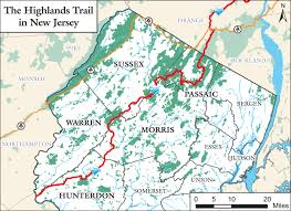 County Map Of Nj Highlands Trail Guide Guidebook Nu Nj Trail Conference