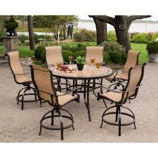 Monaco Piece HighDining Bar Set With  In Tiletop Table - 7 piece outdoor dining set with round table
