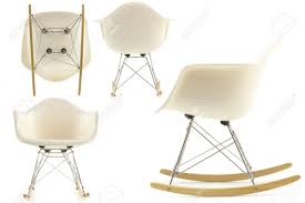 Modern Rocking Chair Modern Design Classic Eames Rocking Chair Set On White Background