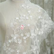 ivory 3d flower leaf embroidered beaded lace fabric lunss couture