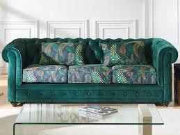 canap chesterfield velour canapé et fauteuil velours vert imprimé chesterfield
