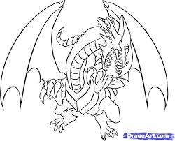 draw blue eyes white dragon step step cartoons