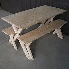 Wooden Picnic Tables With Separate Benches Amazon Com White Cedar Log Picnic Table With Detached Bench 6