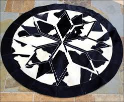 Black Round Rug Pure Brazilian Cowhide Hairon Leather Patchwork 3d Round Rug Black