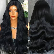 long black hair with part in the middle 2018 ultra long middle part thick wavy synthetic wig black in