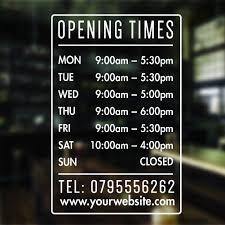 opening hours times shop custom vinyl sign sticker for window door