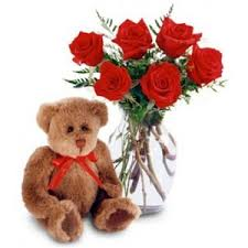 Long Stem Rose Premium 6 Long Stem Rose Arrangements With Teddy Bear
