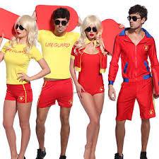 Lifeguard Halloween Costumes Male Female Lifeguard Saver Baywatch Uniform Red Yellow