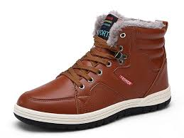 eagsouni mens leather snow boots lace up ankle sneakers high top