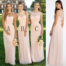 cheap bridesmaid dresses 2018 chiffon mismatched blush pink modern formal floor length