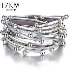 charm bracelet leather images 17km design fashion bead multiple layers charm bracelet for women jpg