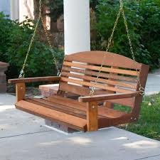 classic 4 ft porch swing in red cedar wood amish made in usa