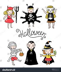 the background of halloween set halloween characters children costumes vampire stock vector
