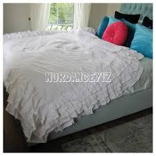 Ruffle Duvet Cover King Ruffle Duvet Cover Full Queen King White Ivory 3 Tiers Cotton