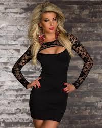 2015 christmas party dresses black lace crew long sleeve sheath