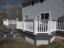 white and gray wood porch composite decks tub decks trellis