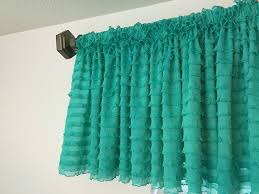 Bedroom Valance Curtains Amazon Com Mint Ruffle Valance Chic Extra Wide Window Treatment