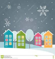 real estate new years cards real estate christmas card with colorful houses stock vector