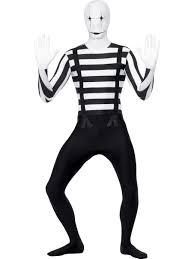 mens mime clown french artist second skin halloween fancy dress