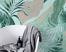 Temporary Wallpaper Uk Palm Leaves Removable Wallpaper Exotic Peel And Stick Jungle