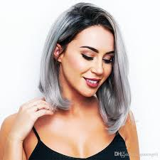 japanesse women with grey hair 2018 middle part 12inch japanese high temperature fiber synthetic