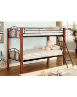 Black Metal Futon Bunk Bed Coaster Haskell Black Metal And Cherry Wood Twin Over Futon Bunk Bed