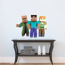 minecraft steve and alex bedroom wall stickers minecraft design minecraft steve alex and villager wall stickers