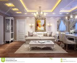 luxurious classic baroque living room interior stock illustration