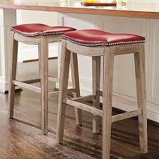 oak bar stool in red