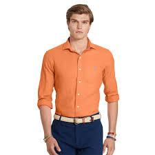 polo ralph lauren estate linen sport shirt in orange for men lyst