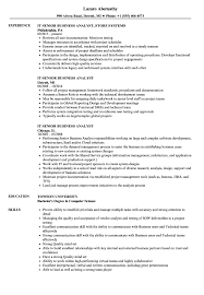 business analyst resume exles it senior business analyst resume sles velvet