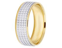 mens comfort fit wedding bands unisex 14k two tone gold comfort fit square pattern wedding band