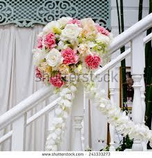 wedding flowers decoration beautiful wedding flower decoration stairs stock photo 241333273