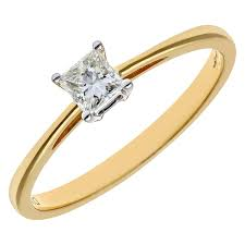 band gold naava women s 18 ct yellow gold four claw j i certified princess