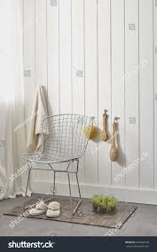white walls modern style outdoor bathroom stock photo 462928120