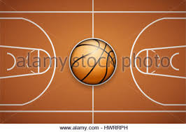 poster template with basketball ball on arena field cup and stock