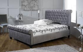 Velvet Bed Frame Orbital Silver Velvet Bed Frame