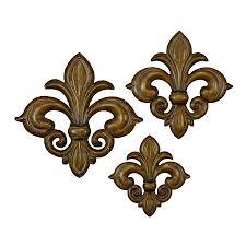 shop woodland imports 3 piece w x h frameless metal fleur de lis