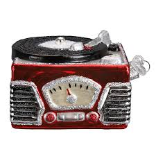 old world glass record player ornament the christmas loft