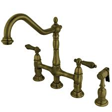 kingston brass kitchen faucet reviews kingston brass victorian cross 2 handle bridge kitchen faucet with