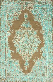 Area Rugs With Turquoise And Brown Wool And Viscose Turquoise And Beige Area Rug