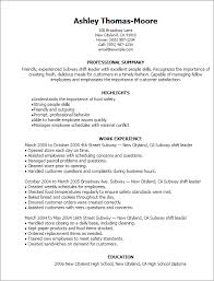 Opening Summary For Resume Professional Subway Shift Leader Templates To Showcase Your Talent