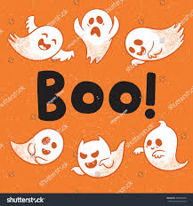 halloween background emoji abstract halloween card ghosts text boo stock vector 488653558