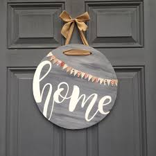 round home front door hanging sign front porch front door decor